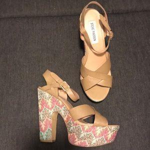 Steve Madden Funky Leather Floral Block Heels